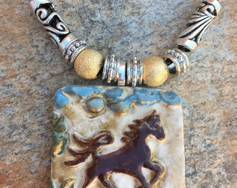 Chestnut Running Horse Pendant Necklace