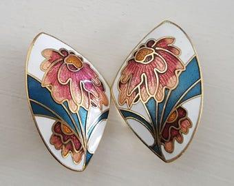 Butterfly Symmetric Enamel Clip Earrings