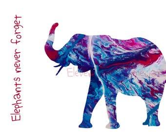 Elephants Never Forget - Elephant postcard - Printable, downloadable - elephants - abstract art - printable postcard