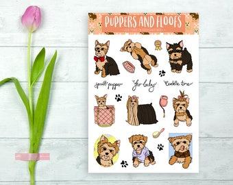 Yorkie Yorkshire Terrier Puppy Stickers Decorative Cute 9pk