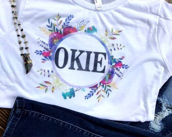 gifts for her/okie floral tee/OK shirt/Oklahoma floral tee/OK tee/Oklahoma tank/Oklahoma/floral shirt/okc t shirt/floral/okie/okc/oklahoma
