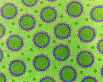 Fabric By the Yard - Green, Pink and Blue Delirious Dots: Wild Child By Jane Sassaman For FreeSpirit/Westminster Fibers