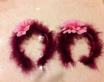 Burgandy Marabou Hairband
