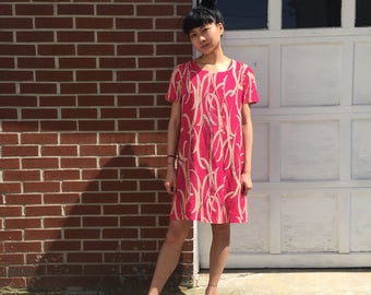 Neon Pink Abstract Rayon Flowy Dress