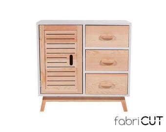Comfortable wood white, front lacadao 1 door 3 drawer