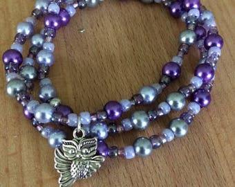 Purple Owl Charm 3 stranded beaded bracelet