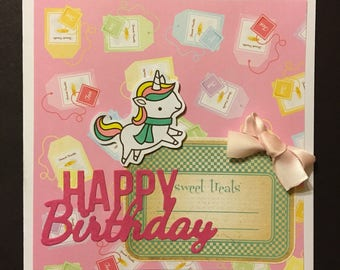Handmade Happy Birthday Card 14cm x 14cm