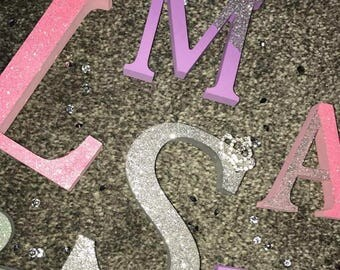 Glitter Wooden Freestanding Letters 13cm Personalised