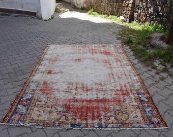 Free Shipping Floor Rug 5.4 x 7.8 feet Vegetable Dyed Turkey Rug Home Decor Area Rug Aztec Boho Rug Organic Wool Ethnic Rug Oushak Rug