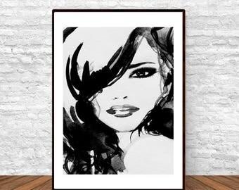 Black and White Art, Scandi Decor, Modern Wall Decor, Teen Wall Art, Black and White Illustration, Fashion Wall Decor, Bedroom Decor