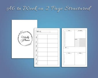 A6 Week on two page structed for traveler's notebooks