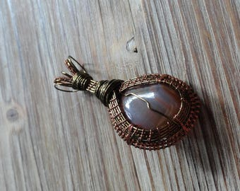 Wire Wrapped Crystal Stone Necklace Pendant Amulet