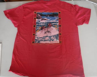 vintage outdoor Idaho whitewater red t shirt L large