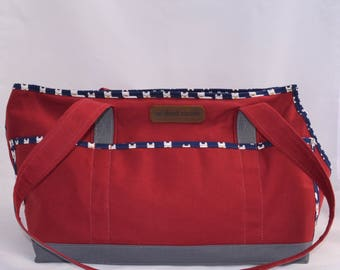 Crimson/Grey/Frenchies Carrier Tote