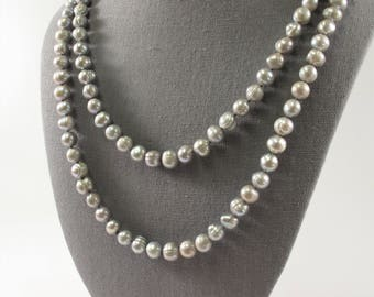 54 inch Hand Knotted Freshwater Pearl Necklaces made of 9mm Ringed Genuine Cultured Freshwater Pearls, Long Gray Pearl Necklace (299-NKGY54)