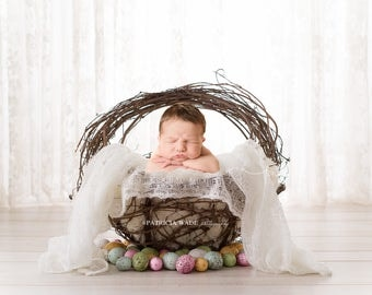 Newborn Digital Background/Easter Basket with Mohair Layer/Natural Wood/Eggs