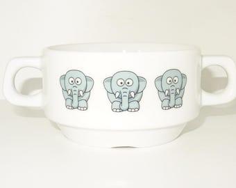 Soup Bowl 4, 1 pcs, elephant soup bowl small baby child kids , Bottom, hidden message, secret message, Soup Bowl, porcelain