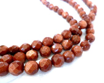 Natural Round FACETED Sandstone Beads /Brown /Minerals/ Strand