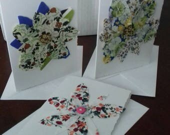 Handmade flower design cards for all occasions.  Pack of 10. Assorted.