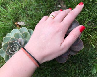 Bracelet cord and suede, for woman, handmade