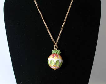 Traditional Sicilian Ceramic Ball and Green Crystal Pendant Necklace