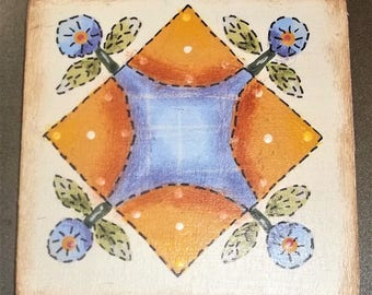 Hand Painted OOAK Wood Magnet Quilt Blueberry