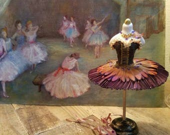 Miniature dollhouse brown ballet tutu, 1:12 scale