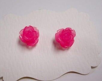 Tiny pink rose post earrings resin rose earrings handmade earrings gift for her rose stud earrings