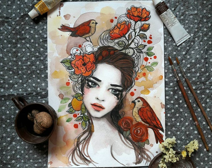 Girl with birds ORIGINAL painting by Tatiana Boiko watercolor art, wall hanging, wall art, wall decor, birds, flowers, floral painting