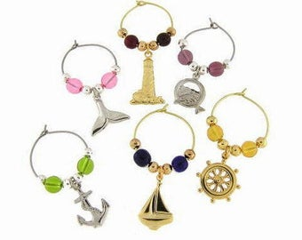 Boating Drink Charms, Wine Glass Charms