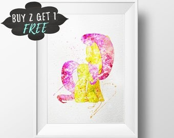 My Little Pony Art Print Poster, Fluttershy Wall Art Nursery Decor Printable Watercolor Instant Download, Gift For Baby Mlp Nursery Wall Art