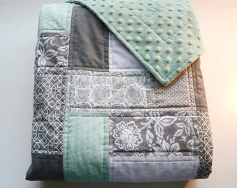 Mint Green baby quilt with minky backing - Mint Green - Gray - White - Modern - Homemade