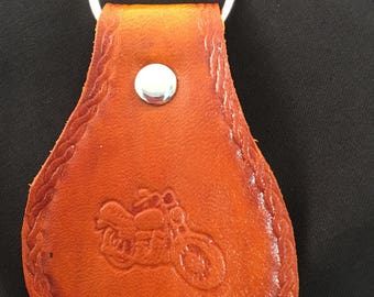 Hand Tooled Leather Key Fob - Motorcycle