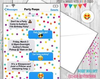 iMessage girly invitation, Emoji invitation, girly invitation
