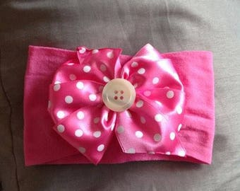 baby girl headband, baby headband, pink headband, accesorie, beautiful headband, baby shower, baby girl flower headband, button, white dots