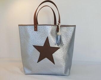 Handbag silver and brown - leather handles