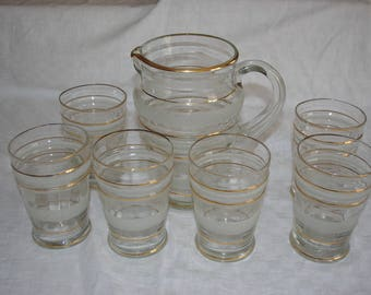 Glassware of soft drink at the end of the 19th century.