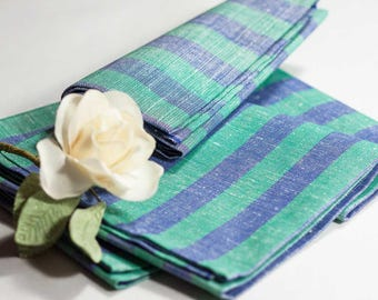Linen cotton tea towel | blue and aquamarine jacquard fabric | 3 towels bundle | Handmade Tea towel | Made in Italy