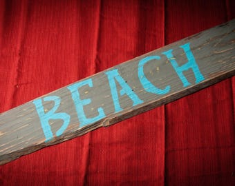 Rustic Wood Beach Sign