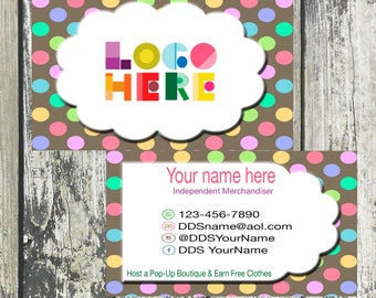 Business Card with Polka Dots, Printable, Customized, Personalized, and Double Sided, Digital DotDotSmile, Custom Business Card, DotDotSMile