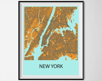 New York Map Poster Print - Orange and Blue