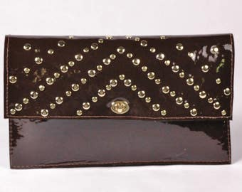 Aster/ Brown Leather Clutch