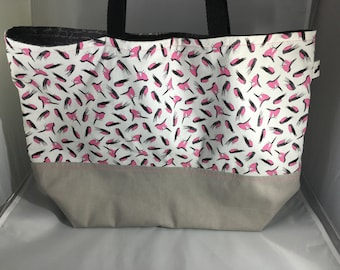 Pink bird market tote, reusable grocery bag