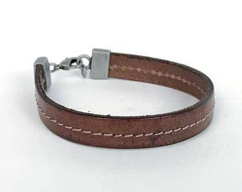 """113-X1 """"Stitched Brown Leather Bracelet"""""""