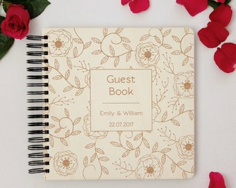 Personalized Wedding Guest Book, Wooden Sign In Wedding Book, Customize Rustic Wedding Memory Book, Elegant Flower Pattern Wedding Journal