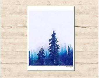 Trees Watercolour Painting Postcard Poster Art Print Q354