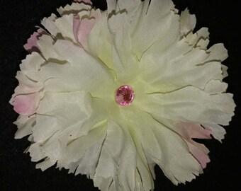 White Ruffle flower clip