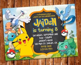 Pokemon Invitation, Pokemon Party, Pokemon Birthday Party, Pokemon Custom Card, Pokemon Birthday Card, Pokemon Birthday Invitation, Pokemon