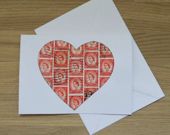 Heart Stamp Art greetings card - red British Wildings