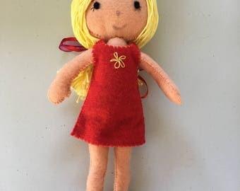 Hand stitched felt doll, gift for girls, girls doll, handmade doll.